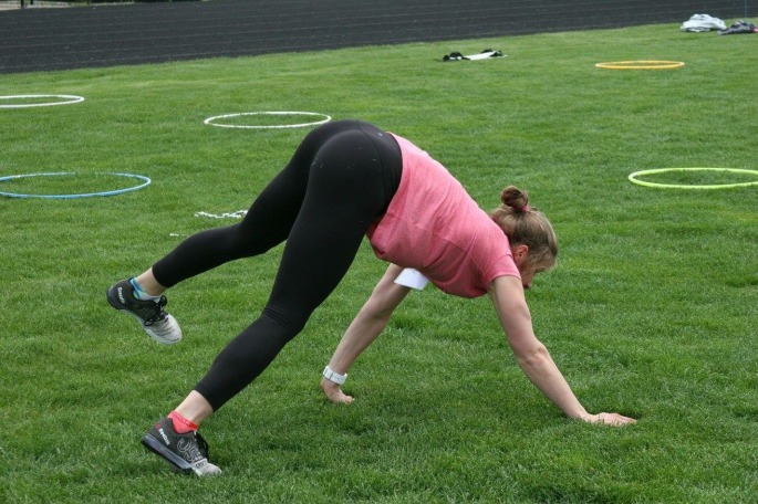 Another activity- Fast and Female! I led the fitness station, and am demonstrating the bear crawl- harder than it looks!