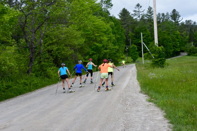 Doing a little dirt-road skiing. (photo by Coach Pat)