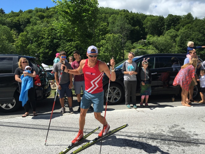 """Andy doing some fancy footwork on his """"road skis""""! (photo from Wade Poplawski)"""