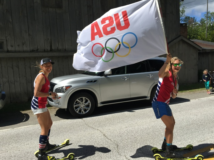 Sophie and Jessie pretty pumped on being in the parade! (photo from Erika Flowers)