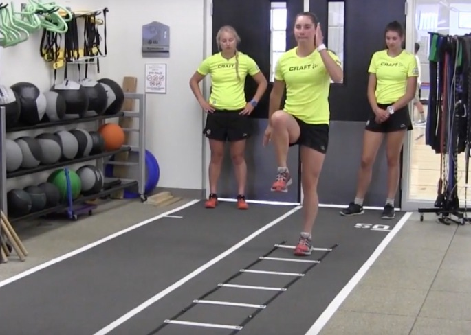 Ladder drills as part of learning the proper running and bounding form.
