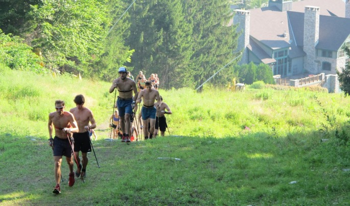 The SMS senior and junior team doing bounding intervals together up Stratton Mountain (photo by Lilly Caldwell)