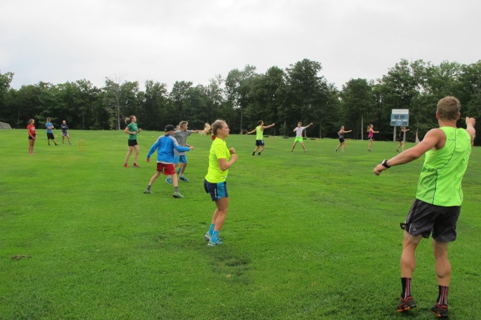 The SMS elite team leading stretching and dynamic warmup before strength (photo by Lilly Caldwell)