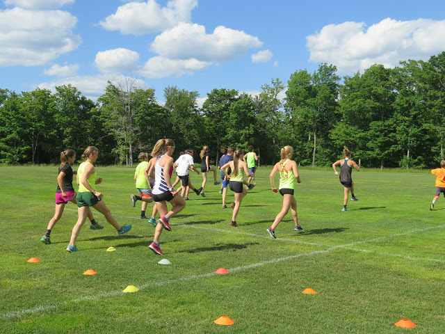The SMS senior team leading the juniors in running drills (photo by Lilly Caldwell)