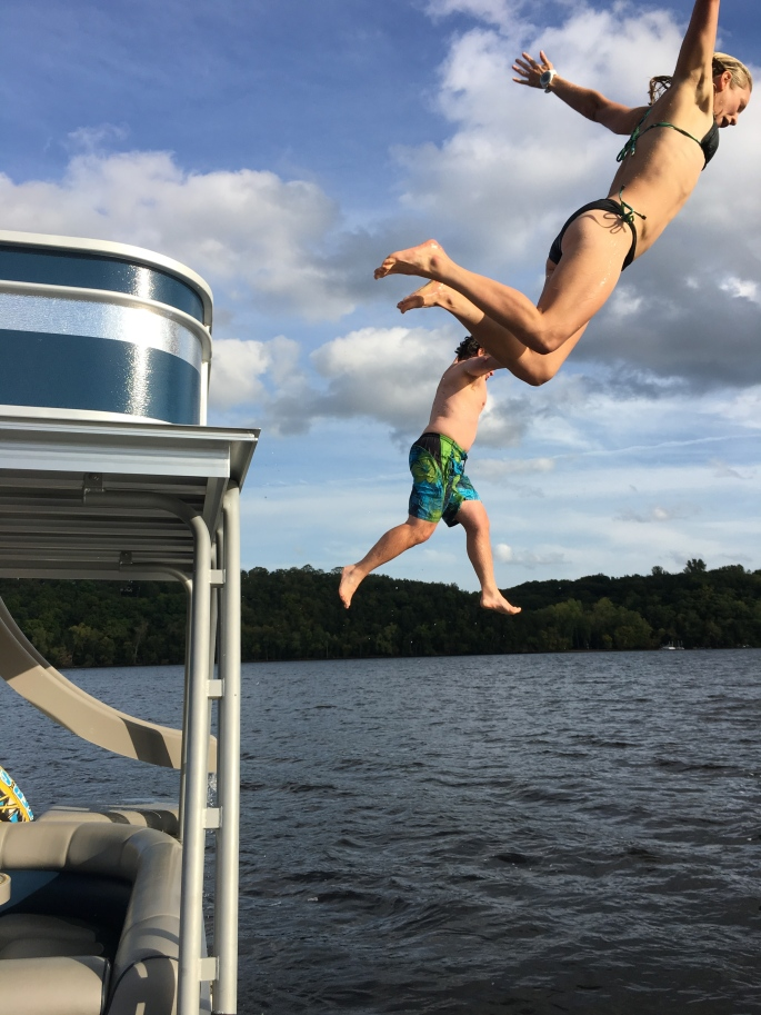 Dad and I jumping off the deck!