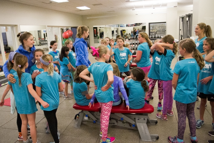 Erika and Anne leading the strength station, cross fit style! (photo by Reese Brown)