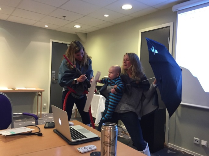 Jessie, Rosie, and Baby Breck reenacting the saving of Prince Haakon during our weekly regional history presentation in Lillehammer.