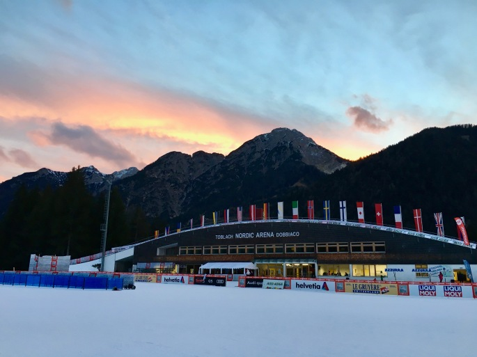 The beautiful stadium in Toblach that skis right up over a building!