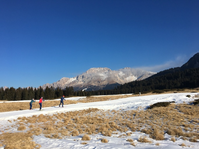 Liz, Sadie and Noah skiing at Passo Lavaze on our way up to Seiser Alm!