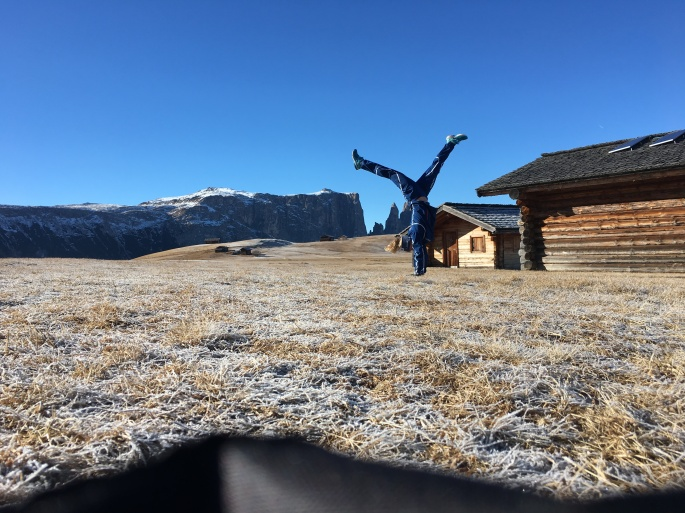 Going for a run on the snow-less alpine meadow!