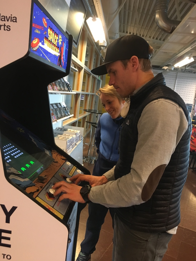 Simi, Liz and I got really excited about the old-school arcade game at the Ostersund airport in Sweden.